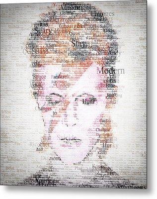 Bowie Typo Metal Print by Taylan Soyturk