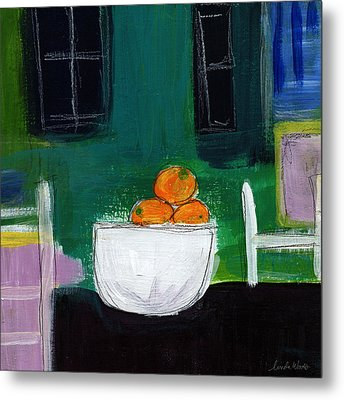Bowl Of Oranges- Abstract Still Life Painting Metal Print by Linda Woods