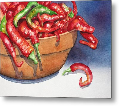 Bowl Of Red Hot Chili Peppers Metal Print by Lyn DeLano