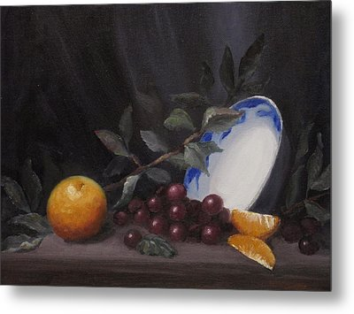 Bowl With Orange And Grapes Metal Print by Ellen Ebert