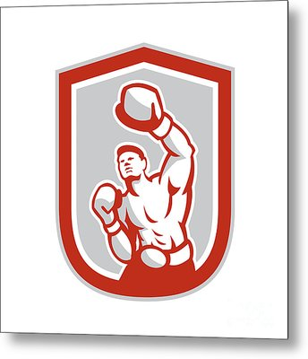 Boxer Boxing Punching Jabbing Circle Retro Metal Print by Aloysius Patrimonio