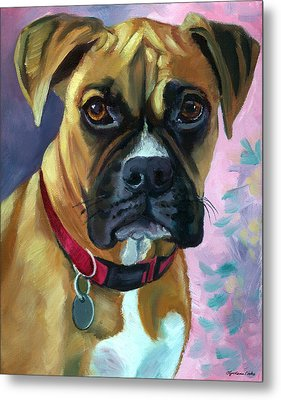 Boxer Dog Portrait Metal Print by Lyn Cook