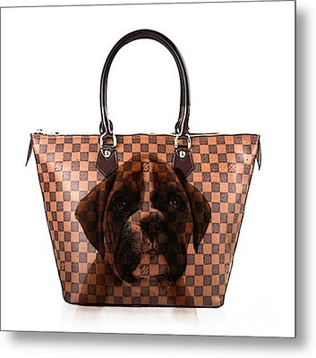 Boxer Pup Hand Bag Painting Metal Print by Marvin Blaine