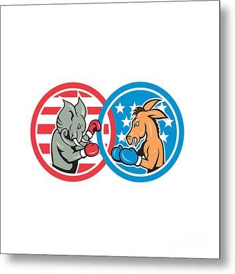 Boxing Democrat Donkey Versus Republican Elephant Mascot Metal Print by Aloysius Patrimonio