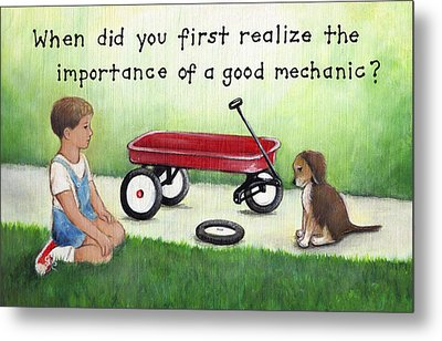 Boy And Dog With Broken Red Wagon Metal Print by Theresa Stites
