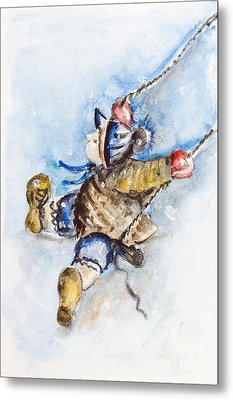 Boy On Swing Metal Print by Irina Gromovaja