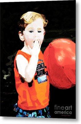 Boy With A Balloon Metal Print by Nancy E Stein