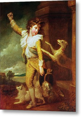 Boy With Dogs Oil On Canvas Metal Print by Richard Cosway