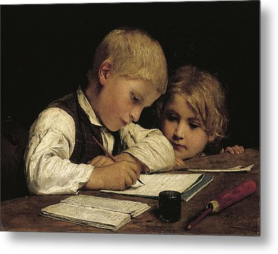 Boy Writing With His Sister, 1875 Oil On Canvas Metal Print by Albert Anker