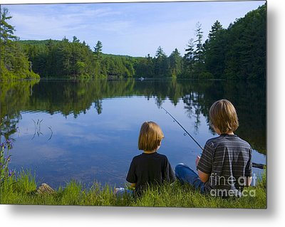 Boys Fishing Metal Print by Diane Diederich