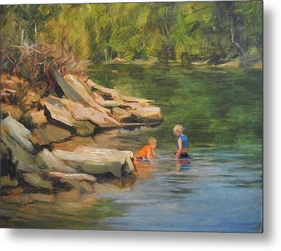 Boys Playing In The Creek Metal Print by Margaret Aycock
