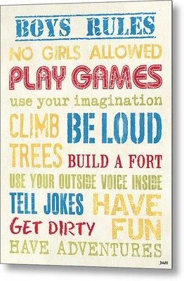 Boys Rules Metal Print by Debbie DeWitt
