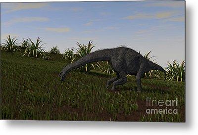 Brachiosaurus Grazing In A Grassy Field Metal Print by Kostyantyn Ivanyshen