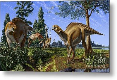 Brachylophosaurus Canadensis Metal Print by Julius Csotonyi