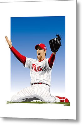 Brad Lidge Champion Metal Print by Scott Weigner