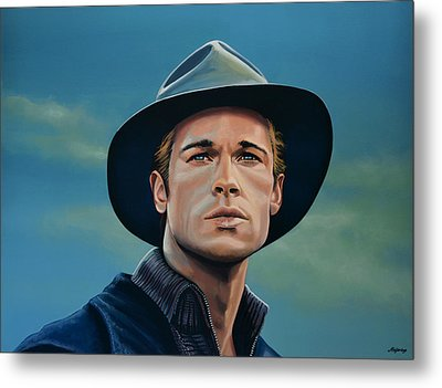 Brad Pitt Painting Metal Print by Paul Meijering