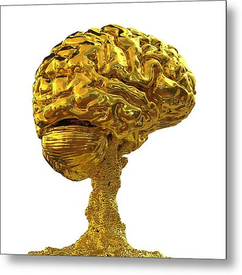 Brain Made Of Gold Metal Print by Russell Kightley