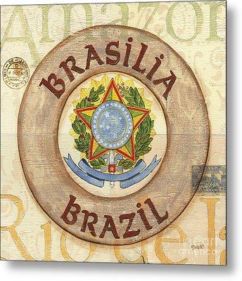 Brazil Coat Of Arms Metal Print by Debbie DeWitt