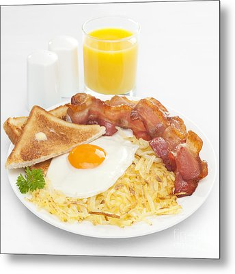 Breakfast Hash Browns Bacon Fried Egg Toast Orange Juice Metal Print by Colin and Linda McKie