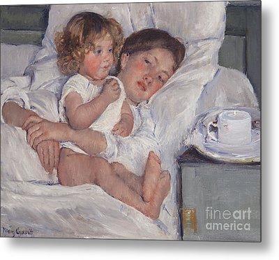 Breakfast In Bed Metal Print by Mary Cassatt