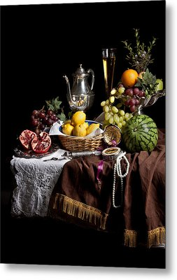 Breakfast Piece With Fruits And Flute Glass Metal Print by Levin Rodriguez