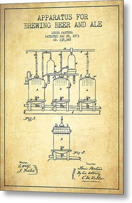 Brewing Beer And Ale Apparatus Patent Drawing From 1873 - Vintag Metal Print by Aged Pixel