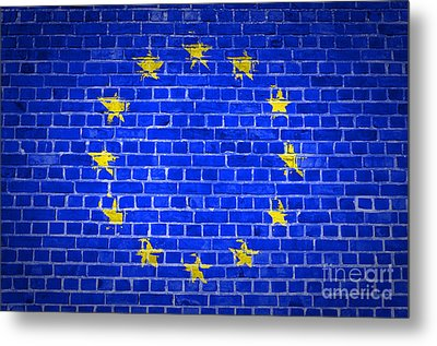 Brick Wall European Union Metal Print by Antony McAulay