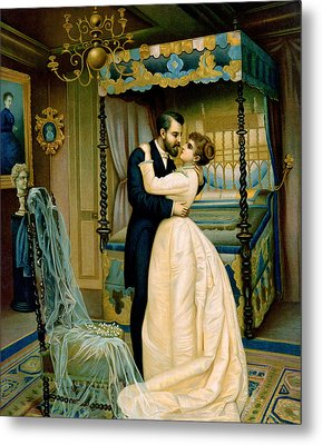 Bride And Bridegroom Metal Print by French School