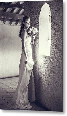 Bride At The Window. Black And White Metal Print by Jenny Rainbow