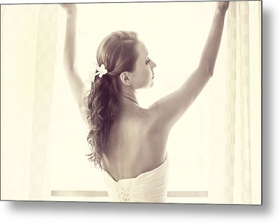 Bride At The Window Metal Print by Jenny Rainbow