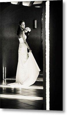 Bride I. Black And White Metal Print by Jenny Rainbow