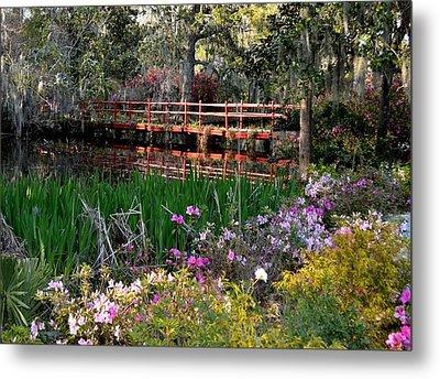 Bridge And Floral Metal Print by Jeff  Bjune