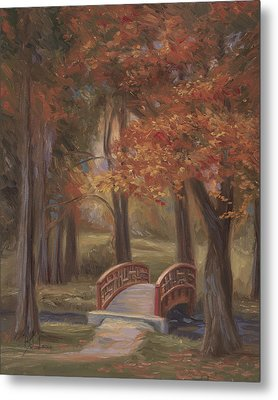 Bridge In The Fall Metal Print by Lucie Bilodeau