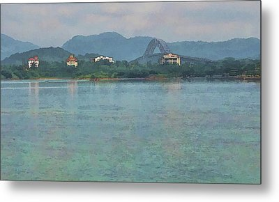 Bridge Of The Americas From Casco Viejo - Panama Metal Print by Julia Springer