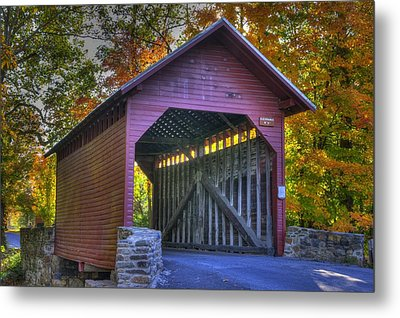 Bridge To The Past Roddy Road Covered Bridge-a1 Autumn Frederick County Maryland Metal Print by Michael Mazaika