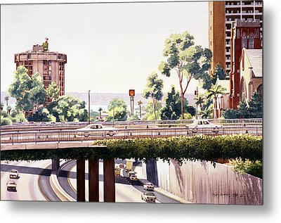 Bridges Over Rt 5 Downtown San Diego Metal Print by Mary Helmreich