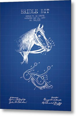 Bridle Bit Patent From 1897 - Blueprint Metal Print by Aged Pixel