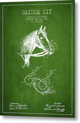 Bridle Bit Patent From 1897 - Green Metal Print by Aged Pixel