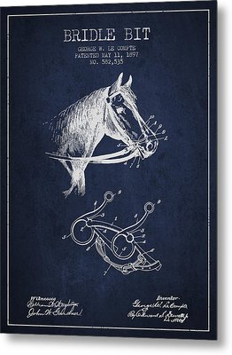 Bridle Bit Patent From 1897 - Navy Blue Metal Print by Aged Pixel