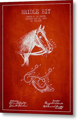 Bridle Bit Patent From 1897 - Red Metal Print by Aged Pixel