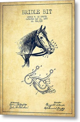Bridle Bit Patent From 1897 - Vintage Metal Print by Aged Pixel