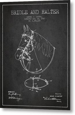 Bridle Halter Patent From 1920 - Charcoal Metal Print by Aged Pixel