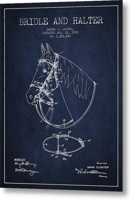 Bridle Halter Patent From 1920 - Navy Blue Metal Print by Aged Pixel
