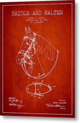 Bridle Halter Patent From 1920 - Red Metal Print by Aged Pixel