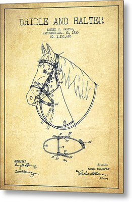 Bridle Halter Patent From 1920 - Vintage Metal Print by Aged Pixel