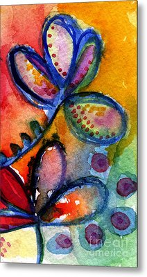 Bright Abstract Flowers Metal Print by Linda Woods