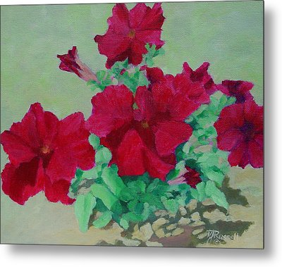 Red Flowers Art Brilliant Petunias Bright Floral  Metal Print by K Joann Russell