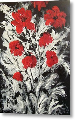 Bright Red Poppies Metal Print by Renate Voigt