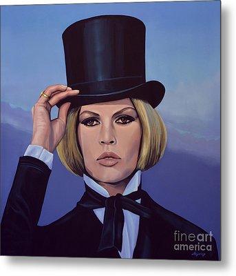 Brigitte Bardot Blue Painting Metal Print by Paul Meijering
