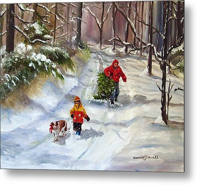 Bringing Home The Christmas Tree Metal Print by Carole Powell